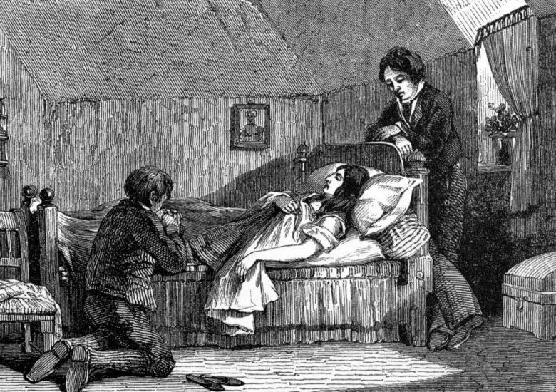 Sick patient with vigilant attendants
